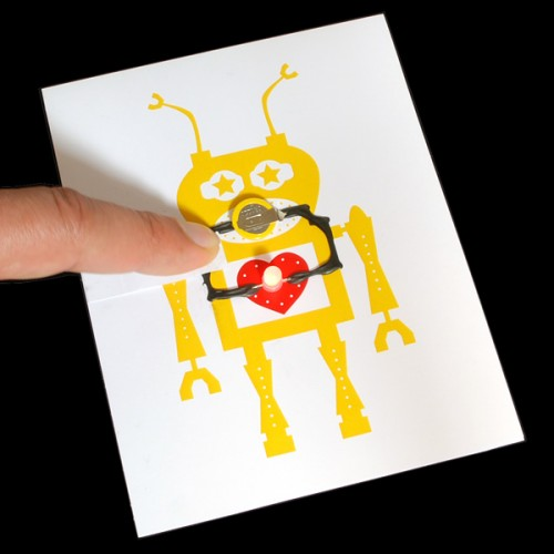 Robot themed light up greeting card kit with bare conductive paint m4hsunfo