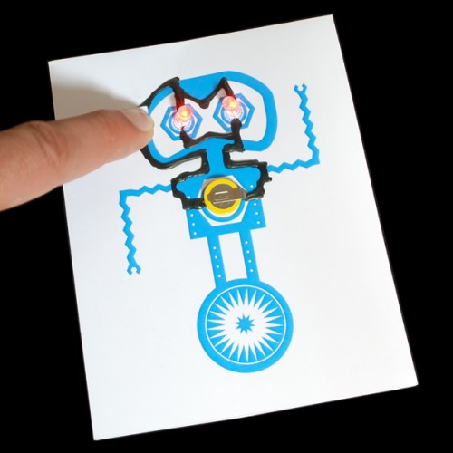 Robot Themed Light Up Greeting Card Kit With Bare Conductive Paint
