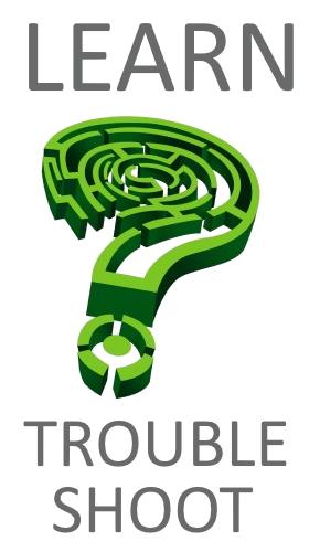 Learn Troubleshoot Logo Green Maze Question Mark